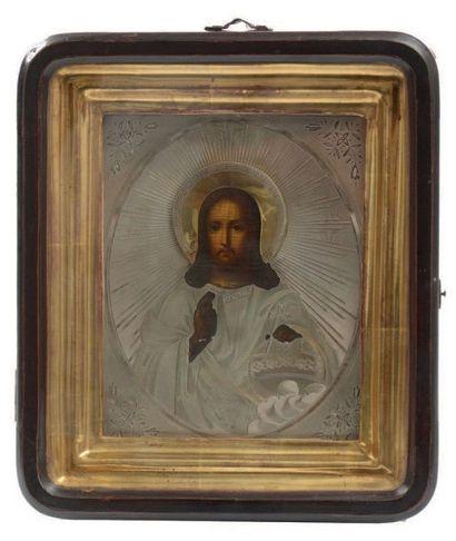 Icône représentant le Christ Pantocrator,...
