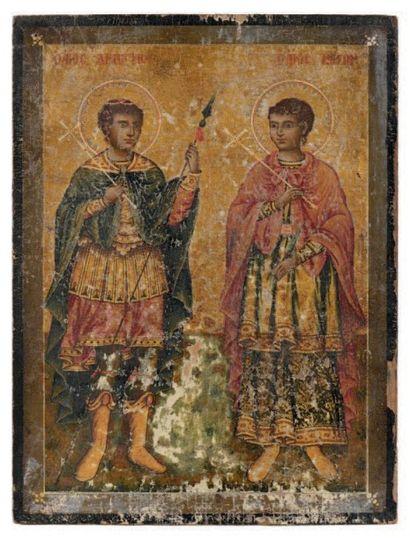 Icône représentant les saints martyrs Dimitri...