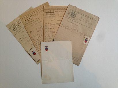 Famille LOBANOV-ROSTOVSKY Lot de 4 factures...