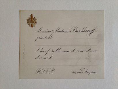 Famille BASCHKIRSEFF Carton d'invitation...