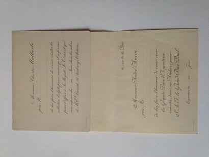 Objets d'art russe. Lot de 2 cartons d'invitation,...