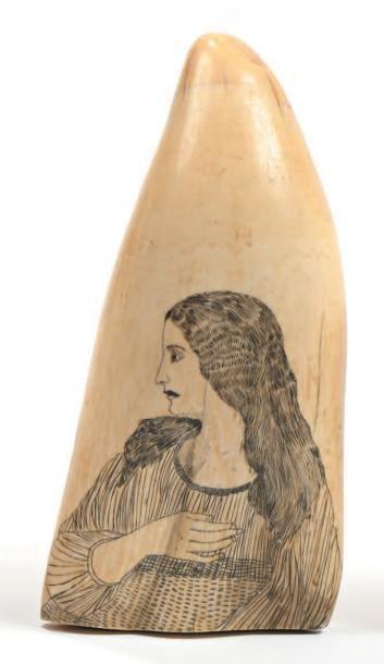 Dent de cachalot à décor gravé scrimshaw...