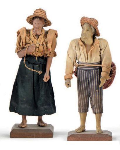 Deux personnages masculin et féminin au goitre...