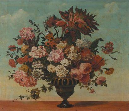 École Française du XIXe siècle Vase de fleurs sur un entablement Huile sur toile,...