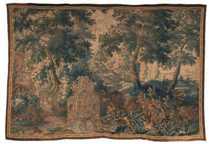 Fragment de tapisserie des Flandres représentant...
