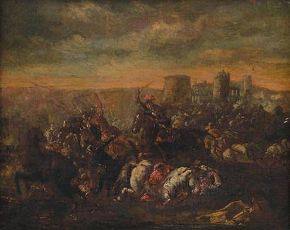 Ecole italienne du dernier tiers du XVIIe siècle Choc de cavalerie sous les murailles...