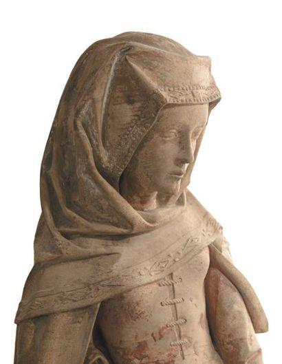 Sainte Marthe Ronde-bosse en pierre calcaire anciennement polychromée Centre de la...