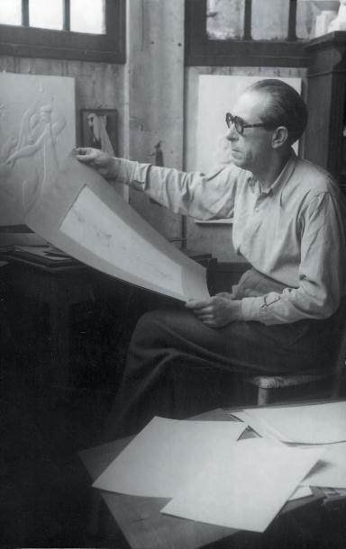 Joseph CSAKY (1888-1971) Panthère, 1928 Granit blanc rosé, signé sur la terrasse....