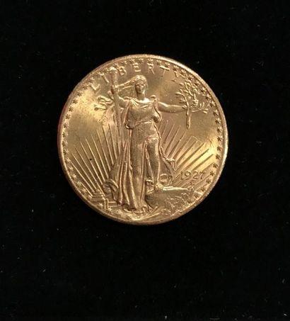 1 pièce or de 20 dollars 1927 (usures)....