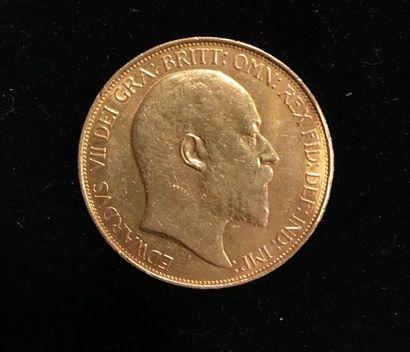 1 pièce or Edouard VII - 1902 - usures. Pb:...
