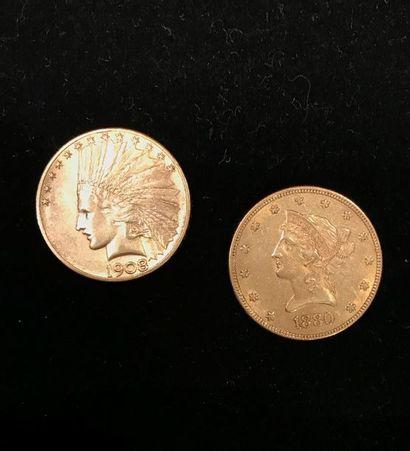 2 pièces or de 10 dollars - 1880 et 1908....