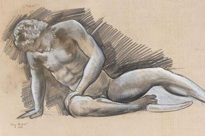 11 BIRY AUTRET (1911) Etude de Galate Fusain...