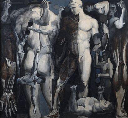 15 Jean LAMORLETTE Composition aux personnages...