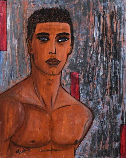 41 MARIE H. Portrait en buste d'homme Huile...