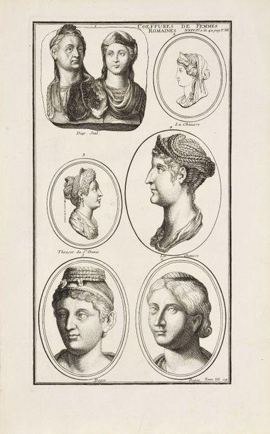 4 Coiffures de femmes romaines Deux gravures...