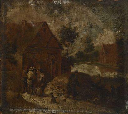 11 David II TENIERS dit le Jeune (1610-1690), école de Villageois conversant devant...