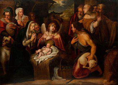 15 Ecole flamande du XVIIe siècle L'Adoration...