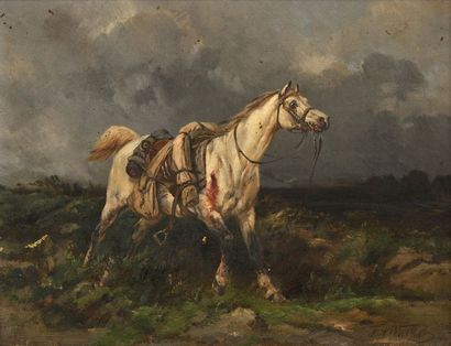 25 Ecole du XIXe siècle Le cheval blessé...