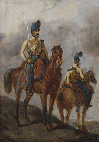 31 Carl JOHANNE (XIXe-XXe siècles) Deux fantassins...