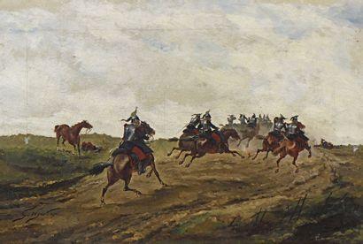 33 Georges HYON (1855-?) La charge des cavaliers...