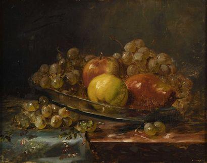 36 BRUNEL Nature morte au raisin et aux pommes...