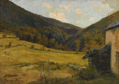 37 Georges ROUX (1850-1929) Paysage aux champs...