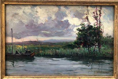 46 Alexandre ISAILOFF (1869-) Bord de rivière...