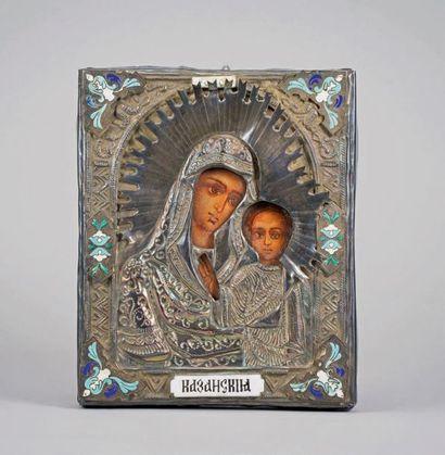 Icône «Vierge à l'enfant» avec riza en argent...