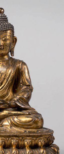 Très rare sculpture de Bouddha Amitabha en bronze doré. Chine, Dynastie Ming, époque...