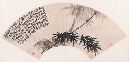 Peinture pour éventail, encre sur papier Dans le style de Jin Nong, représentant...