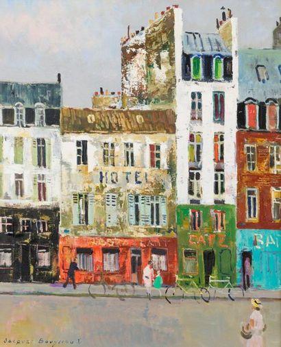 Jacques BOUYSSOU (1926-1997) Rue avec hôtel Toile signée en bas à gauche. 72 x 60...