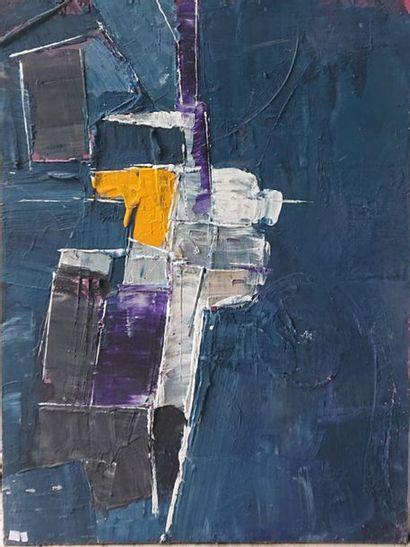 Joël ROUX (né en 1948) Composition abstraite en bleu et orange Huile sur toile signée...