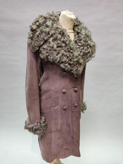 *Anonyme  Manteau en peau lainée taupe, col,...