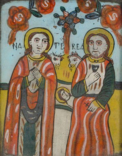 Icône roumaine XIXème siècle  Sainte famille...