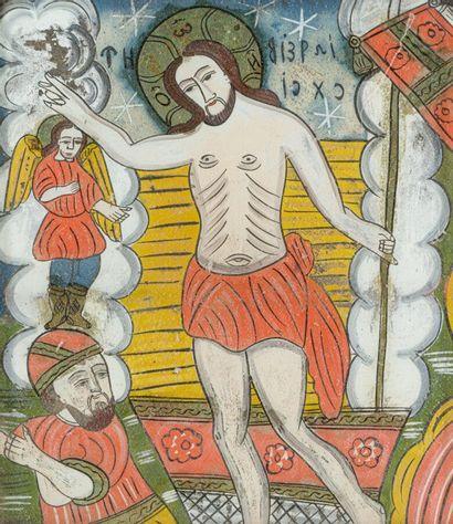 Icône roumaine XIXème siècle  Christ en majesté...