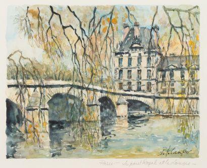 Paris, Le Pont Royal et le Louvre  Aquarelle,...