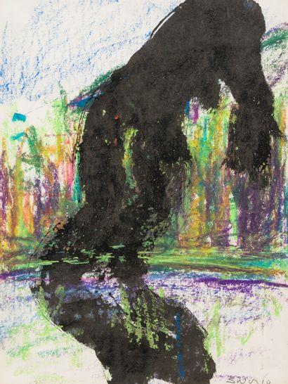 Composition abstraite en noir  Gouache et...