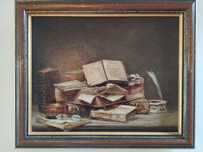 Une nature morte aux livres.  Huile sur toile...