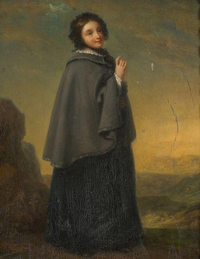 44. École française vers 1850  Jeune femme...