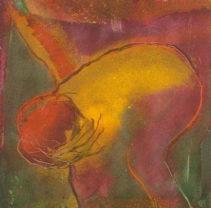 Composition abstraite en jaune, orange, violet...
