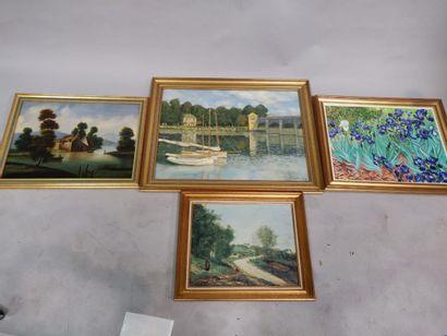 Suite de 3 repros Iris de Van Gogh, Corot...