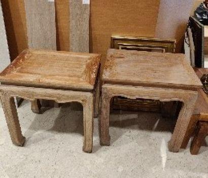 Paire de tables basses en bois cérusé, style...