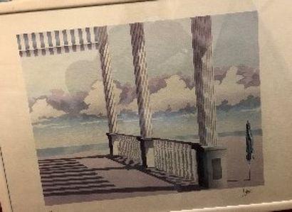 Ensemble de six lithographies ou pièces encadrées, «paysage» et divers.