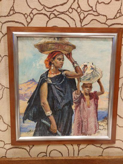 Henri-Jean PONTOY (1888-1968)  Femme et enfant...