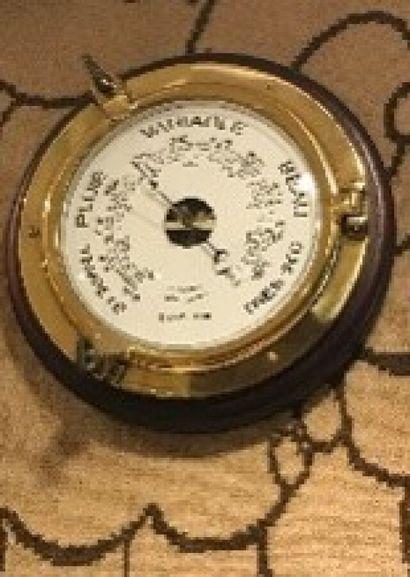 Baromètre et horloge en bois et cuivre, style...