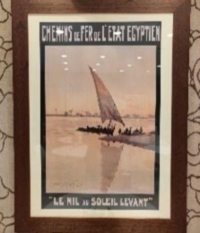 D'après LAMPLOUCH, Chemin de fer de l'Etat Egyptien, affiche, tirage moderne.  90...