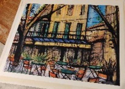 D'après B. BUFFET  Café des arts  Reproduction...