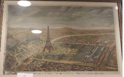 Gravure en couleur, Exposition de 1889  53 x 80 cm.