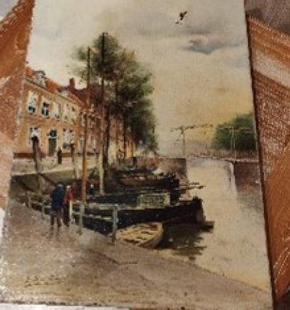 G. WEISS (XXème siècle)  Vue de port  Huile...