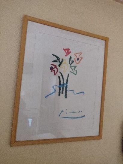 D'après P. PICASSO  Bouquet de fleurs  Reproduction...
